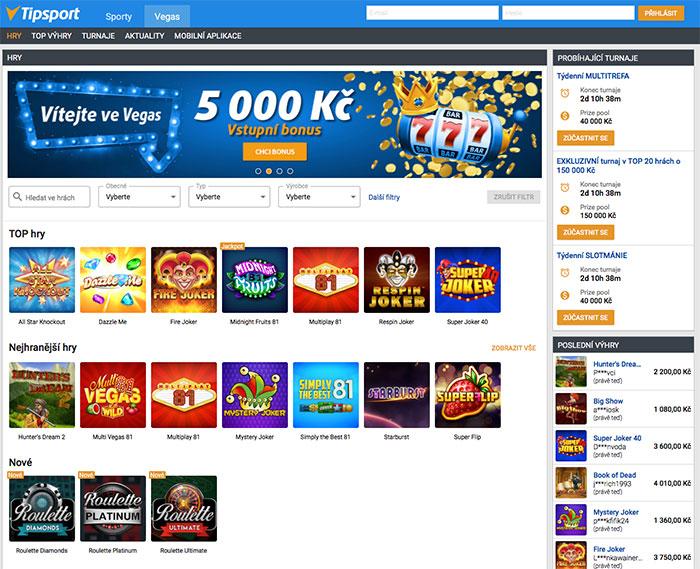 Tipsport VEGAS úvodní obrazovka